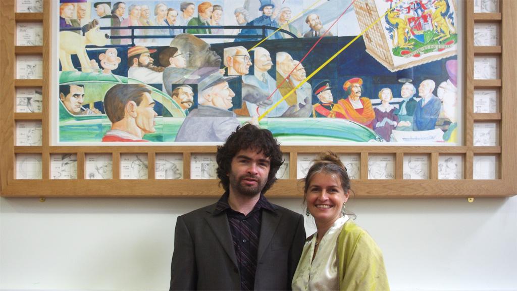 Simon and Julia at the unveiling of the group portrait of eminent Bristolians 'Some More Who Have Made Bristol Famous'