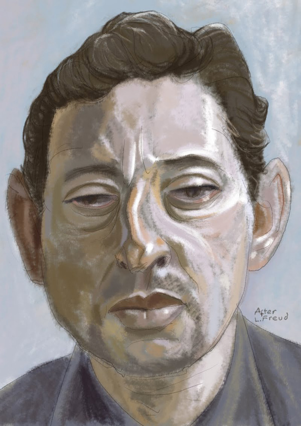 Serge Gainsbourg portrait 1 by Simon Gurr. Click the image to read entry.