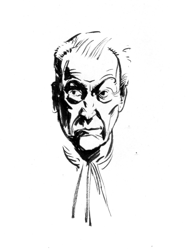 Ink portrait of Lucian Freud, click for larger version