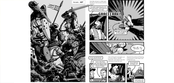 Pages from The Bristol Story (2008) and Brunel: A Graphic Biography (2006)